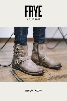 The Veronica Edit. Buckle up for a new edge on moto. Ugg Boots, Shoe Boots, Shoes Sandals, Fashion Shoes, Fashion Accessories, Frye Veronica, Belted Shorts, Stylish Boots, Trends