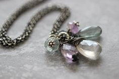 Gemstone Cluster Necklace, Gemstone Necklace, Moss Aquamarine, Rose Quartz, Purple Amethyst, Wire Wrapped, Sterling Silver, Rolo Chain by DezineStudio on Etsy
