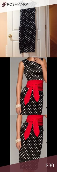 NWOT Polka dot dress Never worn! Retro polka dot dress, close-fitting dress. Without a red belt! Dresses Midi