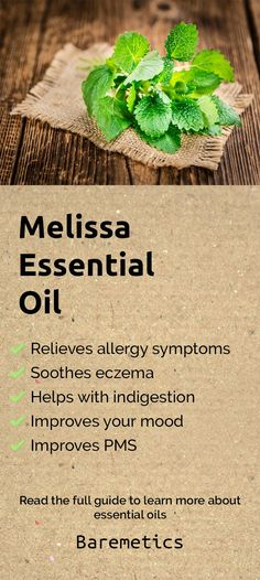 Melissa essential oil relieves allergy symptoms, treats cold sores, soothes eczema, helps with indigestion and improves your mood. You can diffuse this to help yourself feel better or add it to your lotion to help get rid of inflammation (including irrita Melissa Essential Oil, Essential Oils For Colds, Healing Cold Sore, Get Rid Of Eczema, Oils For Sinus, How To Treat Eczema, Aromatherapy