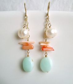 Peach Coral Blue Opal Earrings Gold Filled by BellaAnelaJewelry, $32.00