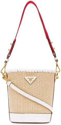 3f4774297 $1,490 Prada White, Nude And Red Logo Raffia Bucket Bag. Very Cool Style!
