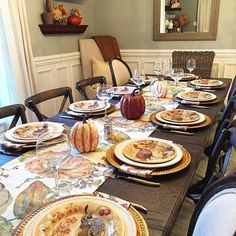 Our runner is a faithful reproduction of an original watercolor painting created in-house. Fall Table Settings, Thanksgiving Table Settings, Thanksgiving Tablescapes, Thanksgiving Appetizers, Thanksgiving Decorations, Thanksgiving Ideas, Painted Pumpkins, Iftar, Decoration Table