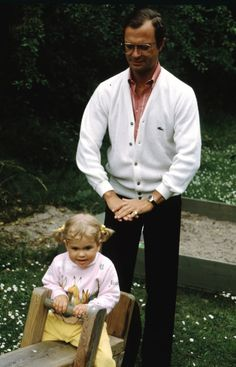 King Carl Gustaf XVI of Sweden with his youngest daughter Princess Madeleine of Sweden.