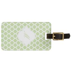 Green Moroccan Pattern with Monogram Luggage Tags