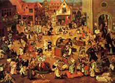 """Peter Brueghel, """"o Velho"""" (1525-1569) """"A luta entre Carnaval e Quaresma"""", 1559, óleo sobre madeira de carvalho Wien Kunsthistorisches Museum Gemäldegalerie"""