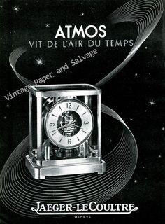 Vintage+1946+Jaeger-LeCoultre+Atmos+Clock+Advert+Vit+de+L'Air+du+Temps+1940s+Swiss+Print+Ad+Suisse