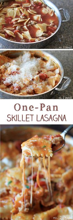 One-Pan Skillet Lasagna - Ravioli acts as pasta and ricotta cheese filling; add meat, tomates, and cheese @Ashley Brooke