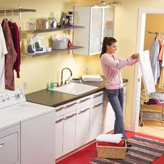 Create a fresh, clean work space in your laundry room. We walk you through the toughest part—reworking the plumbing and adding the new sink. Follow these how-to photos and instructions to turn your unfinished laundry area into a finished laundry room that'll better meet your needs.