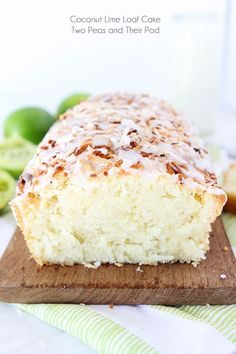 Coconut Lime Loaf Cake Recipe on twopeasandtheirpod.com This easy coconut lime loaf cake is the perfect summer dessert!