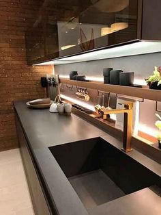 Kitchen Soffit Decorating Ideas is enormously important for your home. Whether you pick the Kitchen Wall Decor Ideas or How To Küchen Design, Design Case, Design Trends, Sink Design, Design Ideas, Modern Kitchen Design, Interior Design Kitchen, Home Interior, Coastal Interior