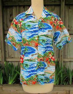 vintage hawaiian shirt 60s colorful scenic aloha by catlady531, $24.00