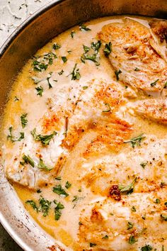 This Skillet Tilapia with creamy lemon sauce tastes like summertime. The fresh garlic, herbs and tender flaky fish makes this the best tilapia recipe ever! Tilapia Fillet Recipe, Best Tilapia Recipe, Baked Tilapia, Easy Tilapia Recipes, Baked Fish, Creamy Sauce For Fish, Talipia Recipes, Sauce A La Creme, Healthy Recipes