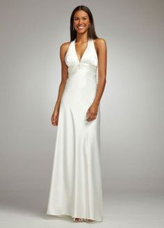 Amazon.com: David's Bridal Charmeuse Gown with Halter Neckline Style 36857D: Clothing