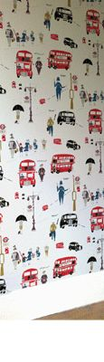 Red Busses and Black Cabs - Lizzie Allen Boys Room Wallpaper, Quirky Wallpaper, More Wallpaper, Bathroom Wallpaper, Print Wallpaper, Boy Room, Kids Room, Black Cab, Room London