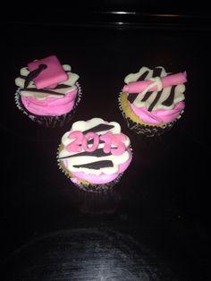 Pink and Zebra Graduation Cupcakes