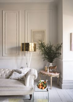 Calm corner of a traditional living room with the walls painted in Wimbourne White and skirting and floor in Pavilion Gray by Farrow & Ball Farrow And Ball Living Room, Living Room White, Living Room Paint, Home And Living, Living Room Decor, Grey Floorboards, Painted Floorboards, Wimborne White, Hall Flooring