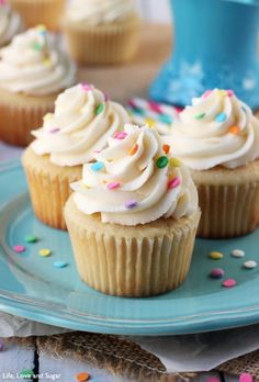 The Perfect Moist Fluffy Vanilla Cupcakes! So good!