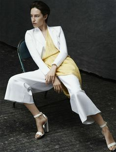 silk suit with wide trousers by Emporio Armani