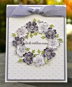 Krystal's Cards: Stampin' Up! Stippled Blossom I love the way she used the petite flowers to make the wreath! The flowers are gorgeous. Pretty Cards, Cute Cards, Diy Cards, Stamping Up Cards, Mothers Day Cards, Creative Cards, Flower Cards, Greeting Cards Handmade, Scrapbook Cards