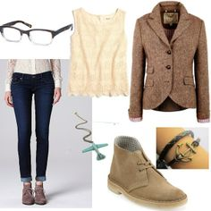 Intellectually chic entry for the First Day of College fashion challenge. Love the quirky airplane necklace! #fashion #contest #outfit #style