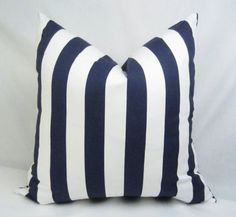 Navy Stripe Pillow Cover . 20 x 20 inch . Navy . by CentralHome, $20.00