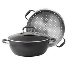 3-Piece Steamer Set to use with or without steamer insert. The bottom is a casserole for stovetop or oven use. - Anolon.com Advanced