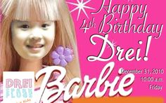 Drei Spark Plugs: Party Invitations and Party Giveaways – Towel Lollipops with Personalized Thank You Photocard Barbie Theme Custom-made des...