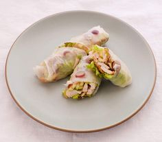 Chicken Salad Rice Paper Rolls | They may not contain bread, but they're full of the other qualities we love most in a sandwich: compactness, convenience, and, most importantly, deliciousness.