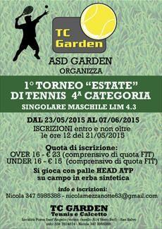 Si svolgerà dal 23 maggio al 7 giugno un Torneo di Tennis di 4° categoria sui campi dell'ASD Garden di San Salvo