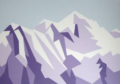Evening view of Mont Blanc, Chamonix, France. Geometric Mountain Painting, Acrylic on canvas by Zoe Hattersley | Artfinder