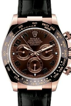 Rolex Daytona Pink Gold Strap Watch, Bronze Arabic Dial: Watches