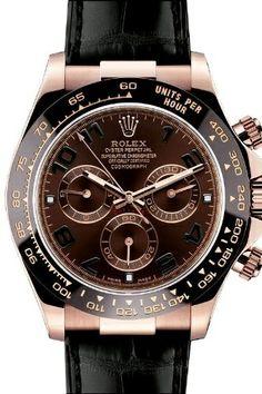 Rolex Daytona Pink Gold Strap Watch, Bronze Arabic Dial: Watches