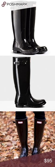 Hunter • Classic black tall gloss rain boots Hunter brand classic black tall gloss boots. Weatherproof. Thick quality material. Size US 8 Men's or 9 Women's. Good condition .. tops look great, only flaw is a little bit of a residue on tops (shown.) Hunter Shoes Winter & Rain Boots