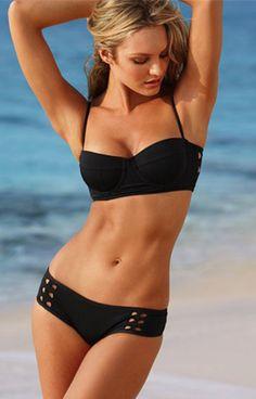 Black Hollow Steel Supporting Bikini Swimsuit