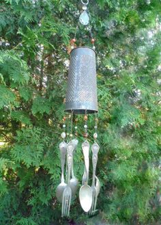 Vintage Cheese Grater Wind Chimes Silverware by SpoonfulsofWhimsy