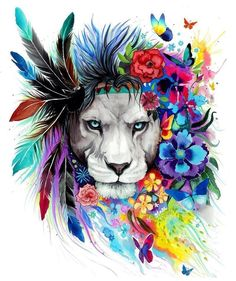 A4 Lion Chief Cat Watercolour Art - Glossy Unframed Print / Poster Picture