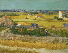 Harvest by Vincent Van Gogh, oil on canvas 1888, is a complex #landscape #painting depicting a vast expanse of fields, fences and farmlands stretching towards the horizon, with farm buildings, a small town and crisply drawn, rolling hills in the distance. #VanGogh #Harvest  www.zazzle.com/justvangogh/gifts?cg=196834755732283243&rf=238581041916875857&tc=pin