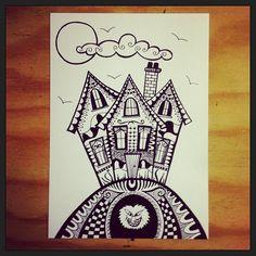 Haunted House - Another Halloween inspired fineliner zentangle design on white card. | Flickr: Intercambio de fotos