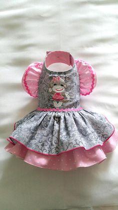 Small Dog clothing Sock monkey Dog Dress Harness Dog Dress