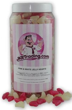 Pink And White Jelly Heart Sweet jar A Gift Jar Full Of Jelly Hearts – JKR Trading Jelly Hearts, Sweet Jars, Gum Arabic, Citric Acid, Jar Gifts, Shellac, Wax, Presents, Sweets