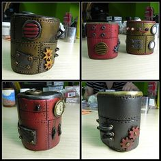 Steampunk vases/mugs. I couldn't find these on the blog, but I think they could by DIY with vinyl and parts from Amazon.