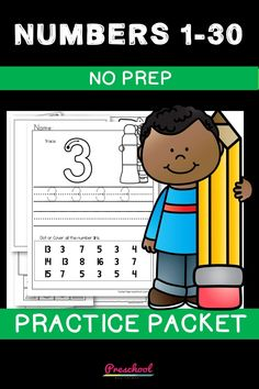 This is a great way for students to practice numbers 1 to 30. The following activities are included on each page: Trace and write the number, Place the given number on box, Identify and dot the number, Color the correct amount of cubes on the base ten block, and Dot the Number. Preschool Curriculum, Preschool Printables, Preschool Worksheets, Preschool Learning, Printable Worksheets, Teaching, Everything Preschool, Number Identification, Base Ten Blocks