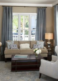 Living Room White Slate Blue Tan And Dark Brown Color