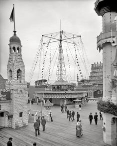 "New York circa 1905. ""Luna Park circle swing, Coney Island."" 8x10 inch dry plate glass negative, Detroit Publishing Company."