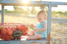 www.lacielauree.com Southern Oregon Peach Orchard, 6 month old session. Rosewood Vintage Rentals www.rosewoodvintagerentals.com