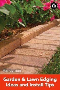 Garden & Lawn Edging Ideas and Install Tips Metal Lawn Edging, Brick Garden Edging, Garden Pavers, Driveway Edging, Lawn Edging Stones, Lawn Edging Bricks, Paver Edging, Yard Edging, Walkway