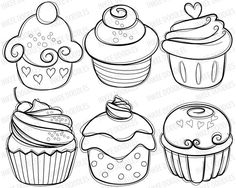 Digital stamps - Cupcake Digital Stamps – cherry cream cupcakes hand drawn sketch food digital stamps line drawing - Food Drawing, Line Drawing, Doodle Drawings, Doodle Art, Colouring Pages, Coloring Books, Cupcake Tattoos, Cupcake Drawing, Doodles