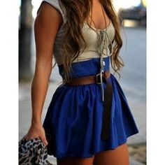 electric blue skirt with white top for bridesmaids, probably a little bit longer!!! lol