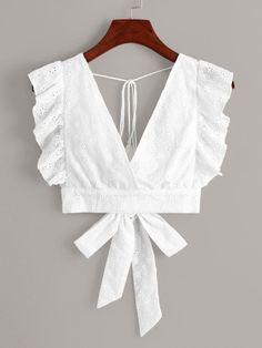 Womens Fashion - White Eyelet Embroidery Ruffle Cuff Tie Back Blouse Girls Fashion Clothes, Girl Fashion, Fashion Dresses, Clothes For Women, Fashion 2020, Fashion Styles, Children Clothes, Girl Clothing, Womens Fashion